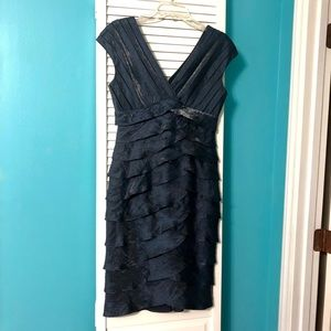 Adrianna Papell blue shimmer tiered dress size 6.